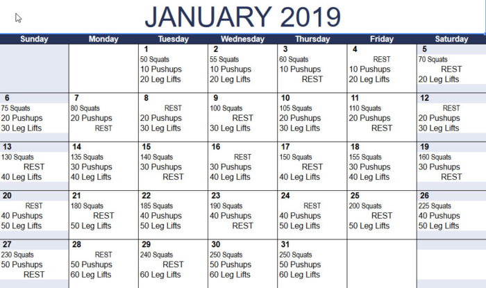 Workout Calendar For Gym : January new year challenge fitness adventure